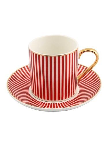 Vitale Style 6'lı Kırmızı Çizgili Kahve Fincan Takımı Renkli